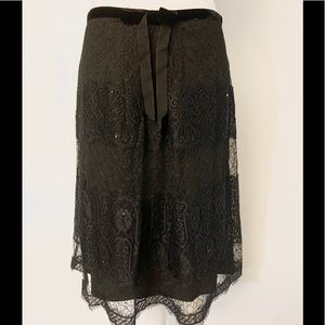 Ann Taylor Black Lace  Sequin Skirt With Bow Sz 6